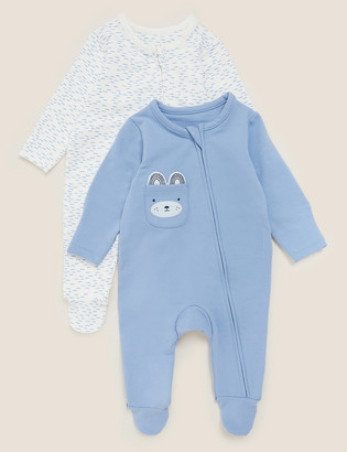 Marks and Spencer 2pk Cotton Animal Face Sleepsuits (7lbs-12 Mths)