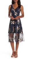 Vince Camuto Floral Embroidered Mesh Midi Dress