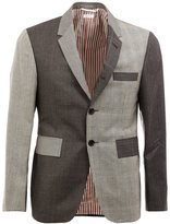 Thom Browne notched lapel patterned blazer - men - Cupro/Wool - 1