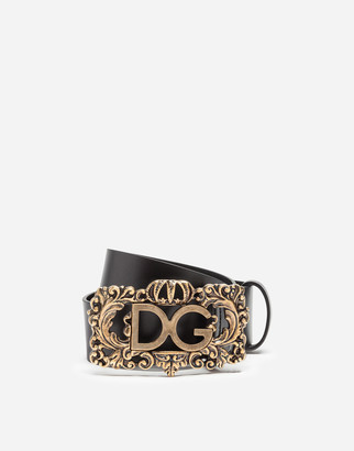 Dolce & Gabbana Leather Belt With Frame