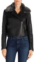 J Brand Women's Aiah Leather Moto Jacket With Detachable Lamb Shearling Collar