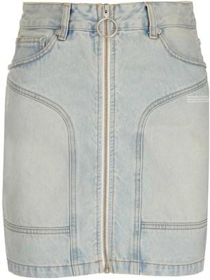 Off-White Zip-Up Paneled Denim Skirt