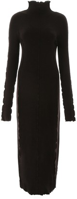 Jil Sander Wavy Hem Turtleneck Ribbed Dress
