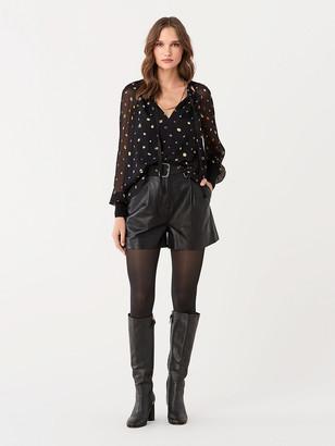Diane von Furstenberg Claudette Leather Tailored Shorts