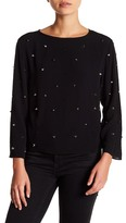 Nicole Miller Long Sleeve Embellished Blouse