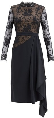 Alexander McQueen Draped Crepe And Lace Dress - Black