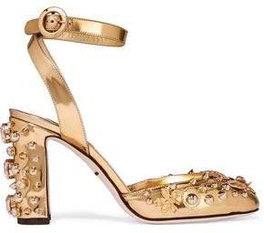 Dolce & Gabbana Embellished Metallic Leather Pumps