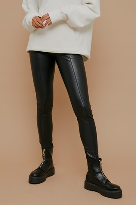 Topshop Black Straight Leg Faux Leather Leggings