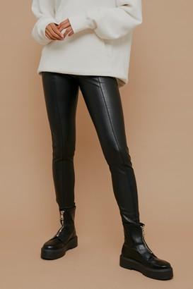 Topshop Womens Black Straight Leg Faux Leather Leggings - Black