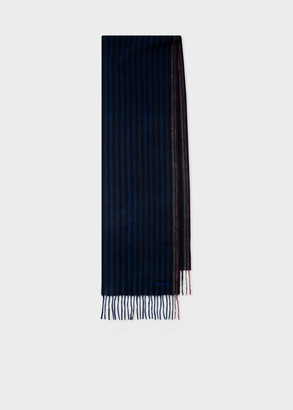 Paul Smith Men's Blue Two-Stripe Wool-Cashmere Scarf