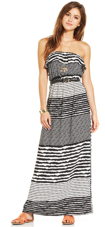 Trixxi Juniors' Strapless Printed Belted Maxi Dress