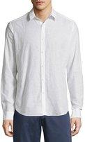 Theory Zack Linen-Blend Long-Sleeve Shirt, White