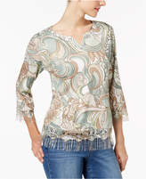 Alfred Dunner Winter Garden Embellished Fringe Sweater