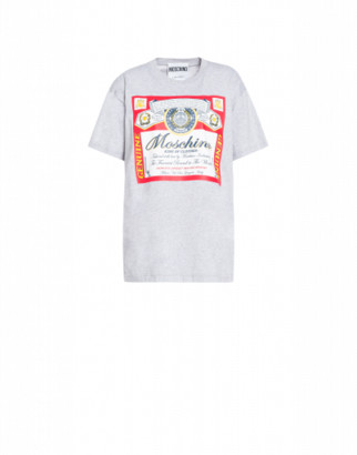 Moschino Budweiser Label T-shirt Woman Grey Size L It
