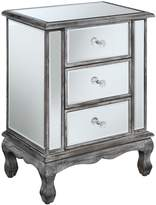 Convenience Concepts Gold Coast Collection 3-Drawer Mirrored End Table