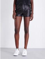 Calvin Klein High-rise leather shorts