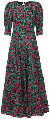 Rixo Kristen Floral Print Ruffled Long Dress