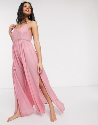 Asos Design DESIGN maxi lace insert beach dress in pink