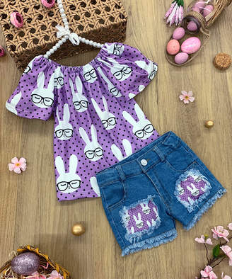 Mia Belle Girls Girls' Casual Shorts Purple - Purple Bunny Short-Sleeve Top & Dark Wash Patch Denim Shorts - Infant, Toddler & Girls