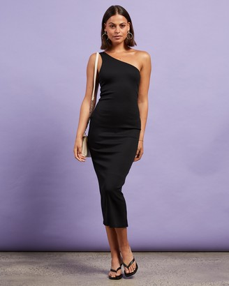 Dazie - Women's Black Midi Dresses - After Dark One Shoulder Maxi Dress - Size 10 at The Iconic