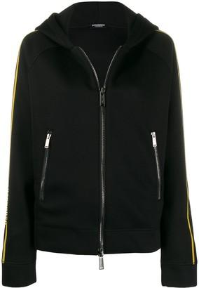 DSQUARED2 logo stripe zipped hoodie