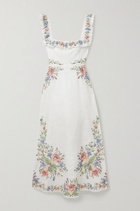 Zimmermann Juliette Scalloped Embroidered Linen Midi Dress - Ivory