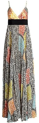 Silvia Tcherassi Genevive Sleeveless Mosaic-Print Maxi Dress
