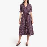 Anne Weyburn Midi Shirt Dress in Floral Print with Tie-Waist