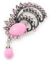 Avalaya Light Pink Diamante Precious Heirloom Feather Charm Brooch (Burn Tone)