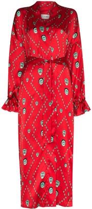 Kirin Mask-Print Kimono