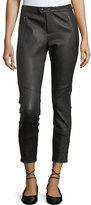 Joie Darnella Skinny Leather Pants w/ Snaps