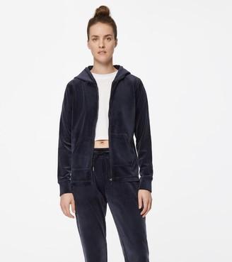 Mny Performance Velvet Zip Front Hooded Jacket