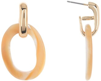 Halogen Oval Shell Drop Earrings