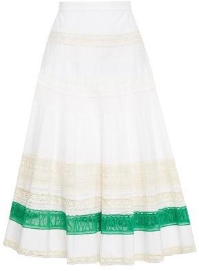 Tory Burch Crochet-paneled Cotton-poplin Midi Skirt