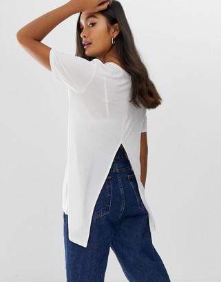 Asos Design DESIGN t-shirt with drapey split back in white