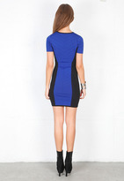 Torn By Ronny Kobo Caterina Combo Dress in Blue/Black