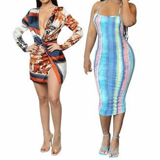 Sonline 2 Pcs Dress: 1 Pcs Stripes Print Deep V-Neck Side Split Dress & 1 Pcs Tie Dye Striped Print Halter Neck Open Back Dress
