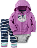 Carter's 3-Pc. Cat Hoodie, Bodysuit & Leggings Set, Baby Girls (0-24 months)
