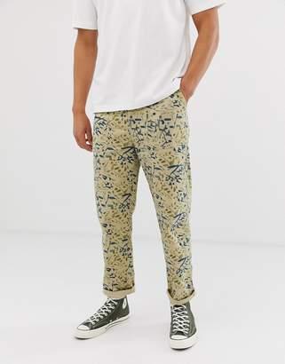 Asos Design DESIGN utility trousers in watercolour print-Beige