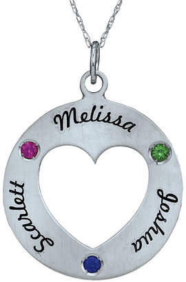 Fine Jewelry Personalized Simulated Birthstone Engraved Open Heart Pendant Necklace