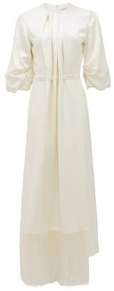Gabriela Hearst Hestia Fringed-hem Silk-satin Midi Dress - Womens - Ivory