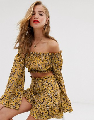 Bardot In The Style x Dani Dyer elasticated crop top in yellow paisely-Multi