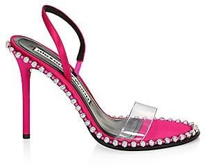 Alexander Wang Women's Nova Crystal-Studded PVC & Satin Slingback Sandals