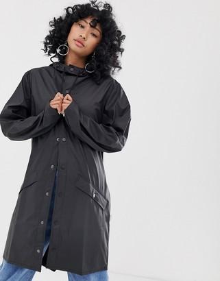 Rains long waterproof jacket in black