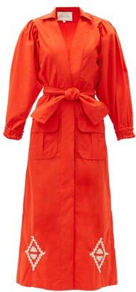 Johanna Ortiz Amazon Flavor Embroidered Cotton-poplin Dress - Red