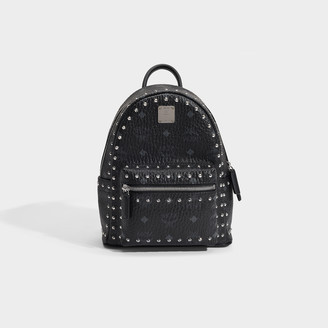 MCM Stark Bebe Boo Backpack In Studded Outline Black Coated Canvas