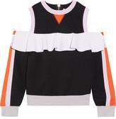 NO KA 'OI No Ka'Oi - Nele Cold-shoulder Cotton-blend Jersey And Neoprene Top - Black