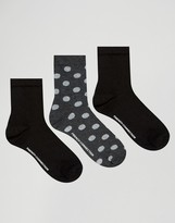 French Connection Glitter Polka Sock three Pack