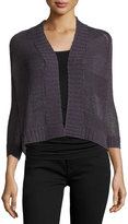 Neiman Marcus Tape Yarn Cropped Cardigan, Steel
