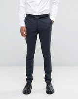 Selected Suit Pant with Brushed Tonal Check in Skinny Fit